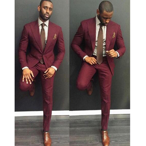 Classic style wine red men suit slim fit 2 pieces burgundy groom tuxedos groomsman wear mens